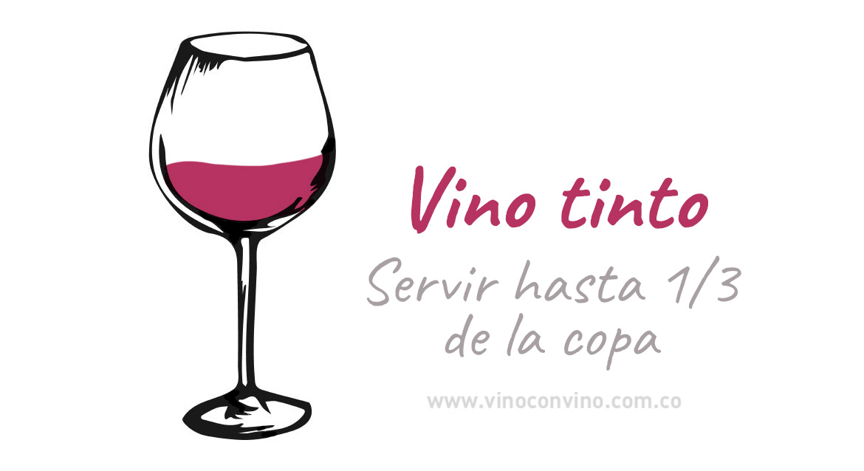 ¿Hasta dónde servir una copa de vino tinto?