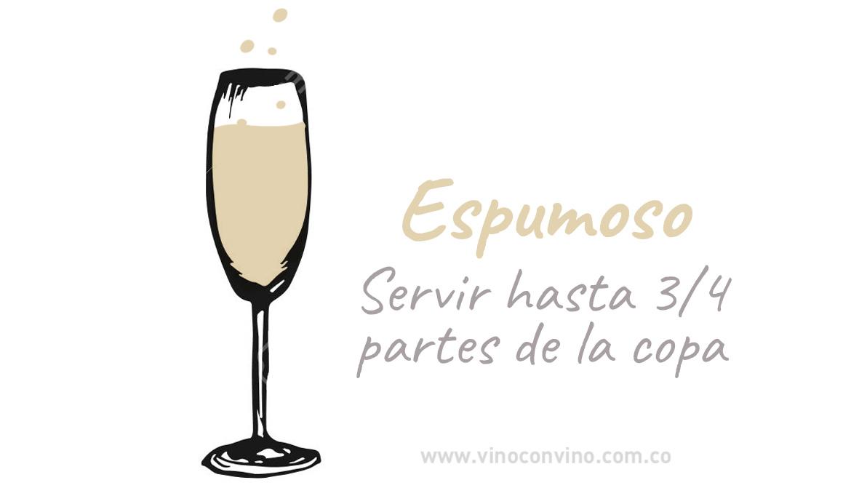 ¿Cómo servir una copa de vino espumoso?