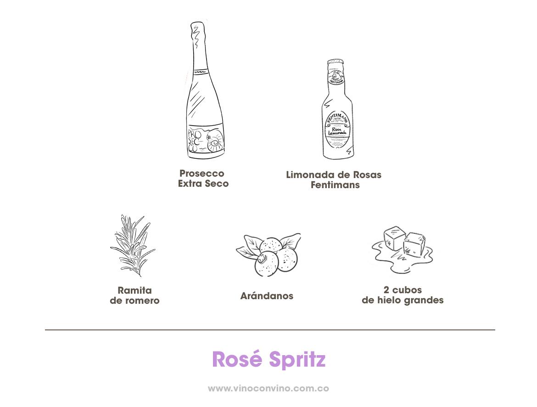 Rosé Spritz:Cóctel con limonada de rosas Fentimans