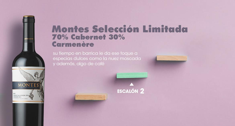 Vino con barrica: Montes Selección Limitada 70% Cabernet 30% Carmenère