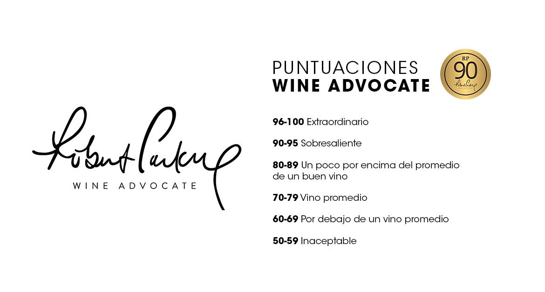 Puntajes revistas de vino: Wine Advocate