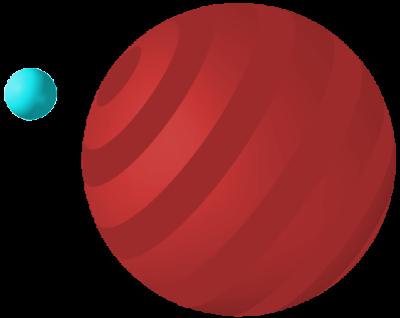 Círculo pequeño azul, círculo grande rojo